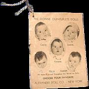 Original 1935 Dionne Quintuplets Dolls Hangtag