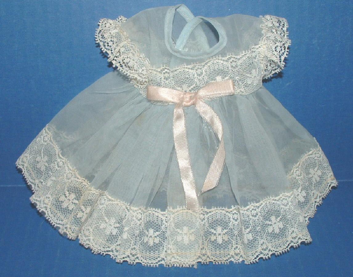 Blue Nylon Birthday Party Dress for Baby Doll