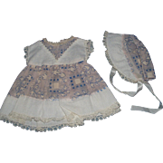 Batiste Print Dress and Bonnet for Baby Doll