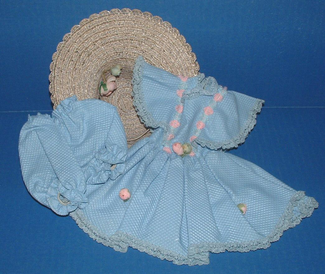 Sweet Sue Doll Original Blue Dress, Bloomers, and Hat