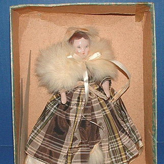 """Ruth Gibbs 7"""" Godey Little Lady Doll with Box, Pamphlet, and Stand"""