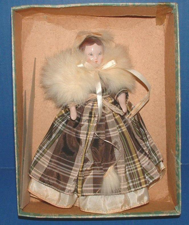 "Ruth Gibbs 7"" Godey Little Lady Doll with Box, Pamphlet, and Stand"