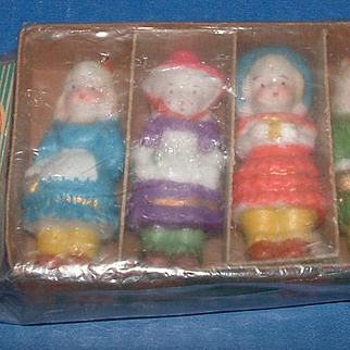 Four Little Bisque Dolls in Original Package