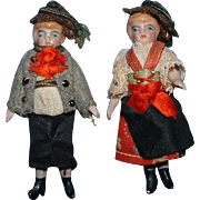 Pair All Bisque Dolls in Costumes
