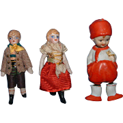 """Three Little All Bisque Dolls """"As Is"""""""