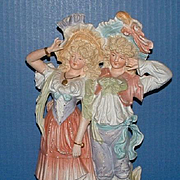 "12 1/2"" Bisque Pair Man and Lady Figurine"