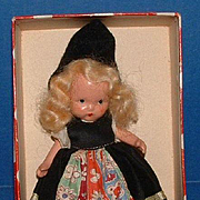 Early Swedish Nancy Ann Storybook Bisque Doll in Original Box