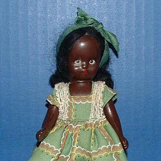 Nancy Ann Storybook Doll Topsy in Green Plaid Dress