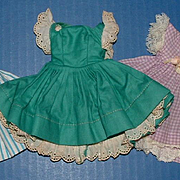 Three Tagged Cissette Doll Dresses