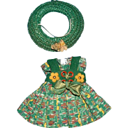 Vogue Ginny Doll Green Print Dress and Hat