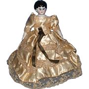 """Small 7"""" China Head Doll with Original Cloth Body with Letters"""