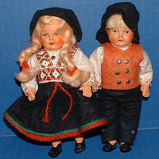 """Pair of 6"""" Celluloid Boy and Girl Dolls, All Original"""