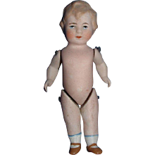 All Bisque Limbach German Doll incised with Cloverleaf on Back