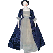 Flat Top China Head Doll with Rosy Cheeks and Blue Eyes