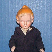 "7"" Bisque Boy Doll in Black Suit"