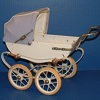 Vintage Doll Baby Buggy Pram Carriage with emblem RED, Made in France