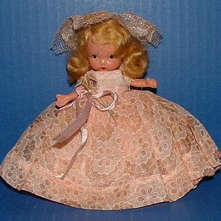 Nancy Ann Storybook Doll #87 Bridesmaid in Organdy Floral Print