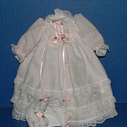 Baby Doll Long Gown Dress and Matching Bonnet
