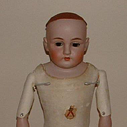 "Antique German 25"" Kestner 154 Bisque Shoulder Plate Doll"