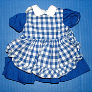 Terri Lee Doll Blue Dress and Checked Pinafore