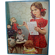 1940's or 1950's Darling GIRL and her DOLLS Puzzle -- Effanbee Horsman
