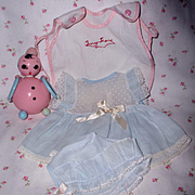 Original Early 1950's Tiny Tears Doll BLUE Dimity Dress Set & Romper