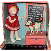 """EXTREMELY RARE 1930's Freundlich Patsy Type Trixbe """"Mary Had a Little Lamb"""" in School House Case!"""