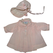 """1930's Shirley Temple Molly-'es PINK SILK EMBROIDERED Coat Set - Tagged fits 13"""" Effanbee Dy-Dee KIN"""