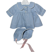 Effanbee Dy-Dee Jane FACTORY ORIGINAL Coat and Bonnet -Blue w/ White Trim