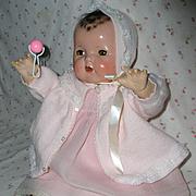 """Vintage 20"""" Effanbee DY-DEE Baby Doll Factory Sweater / Bonnet Set"""