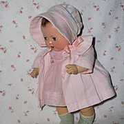 Effanbee Dy-Dee Ette Mold 1 FACTORY ORIGINAL Coat and Bonnet - Baby Pink