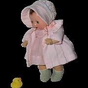 Effanbee Dy-Dee Ette Mold 1 FACTORY ORIGINAL Coat and Bonnet - Baby Pink