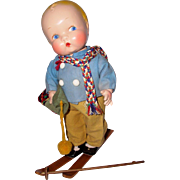 "EXTREMELY RARE Harriet Flanders 1937 Compo 12"" Little Cherub Baby BOY -- All Original in Skiing Outfit - Red Tag Sale Item"