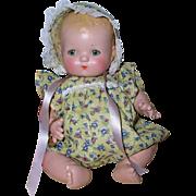 "1930's Effanbee 10"" Patsy BABYkin Blonde Infant GIRL Twin #2 -- YELLOW"