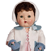 """1956 RARE Brunette 16"""" Tiny Tears Baby Doll by American Character"""