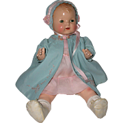 "1925 Effanbee 17"" Baby Evelyn Composition Doll -- Rare Blond"