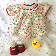 """Flowers in Dimity -- Dress for 11"""" Dy-Dee / Tiny Tears Baby doll"""