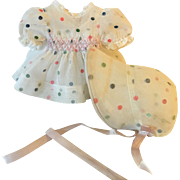 """MINT Organdy Flocked Dress Set for 11"""" Tiny Tears and Dy-Dee Baby"""