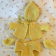 """Sunny Yellow Sweater Set for 11"""" Tiny Tears / Dy-Dee Baby"""