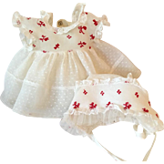 """EXTREMELY RARE Original American Character 13.5"""" Tiny Tears PARTY Dress Set -- RED"""