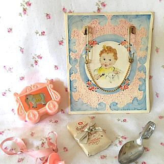 Vintage Dy-Dee Doll Pacifier - Soap - Silver Spoon - Rattle - GOLD Bib Clasps