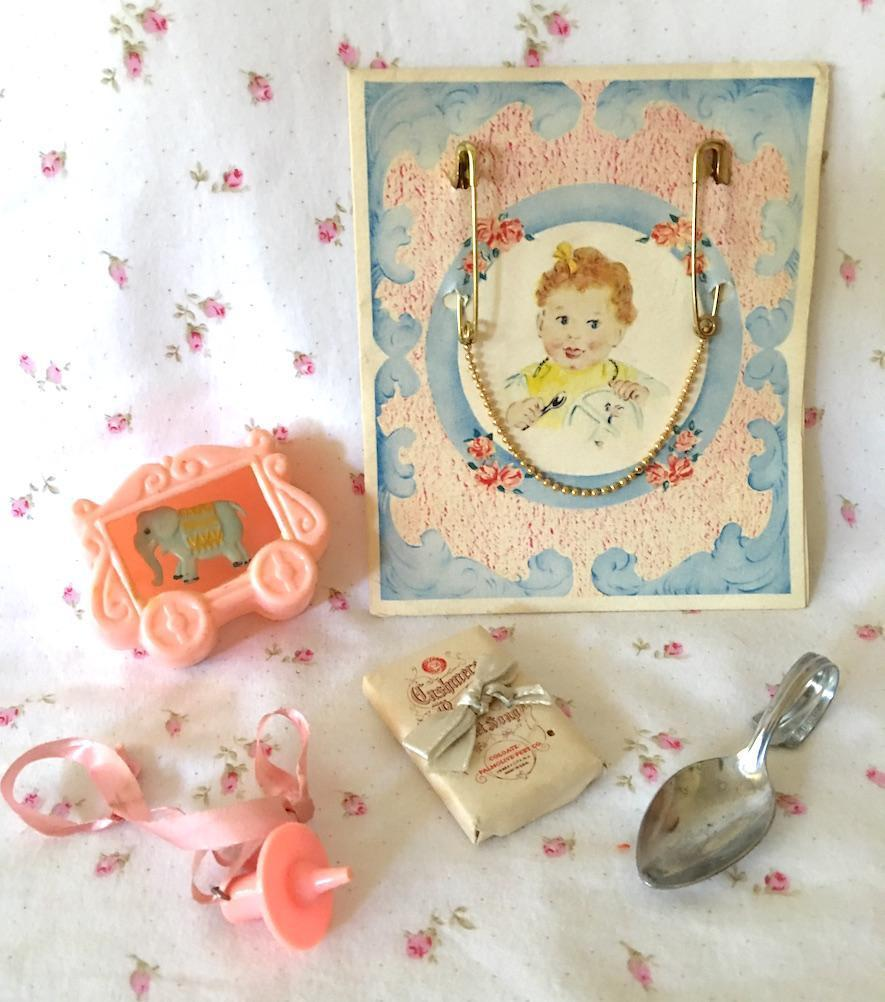 "Vintage Dy-Dee Doll Pacifier - Soap - "" Silver "" Spoon - Rattle - GOLD Bib Clasps"