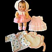 """MINT 11.5"""" TINY TEARS doll -- mid-1950's w/ Original Layette #2"""