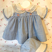 "Vintage 1930's Effanbee Factory Original 15"" Dy-Dee Blue Gingham Dress Set"