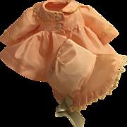 "Effanbee 11"" Dy-Dee Ellen FACTORY ORIGINAL Coat and Bonnet - Pink Sateen -- PRISTINE"