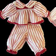 "Red Stripe CHRISTMAS PJ's for 11"" Tiny Tears"