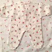 "RARE Factory 11"" Tiny Tears Flannel Pajamas - Red Roses #2"