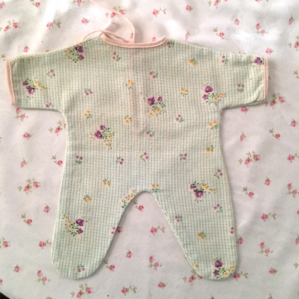 "RARE Factory 11"" Tiny Tears Flannel Pajamas - Flowers & Green Gingham"