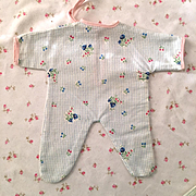 "RARE Factory 11"" Tiny Tears Flannel Pajamas - Flowers & BLUE Gingham"