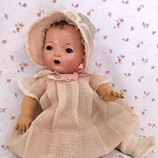 """Effanbee 13"""" Dy-Dee KIN 1930's Factory Pink Dot Dress Set"""